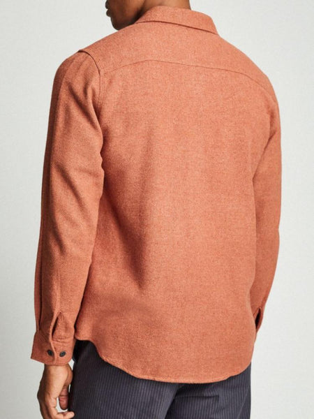 brixton long-sleeved bowery solid flannel clay
