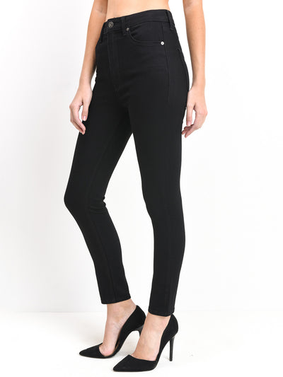 just black denim bp1062 super high rise ankle skinny black wash