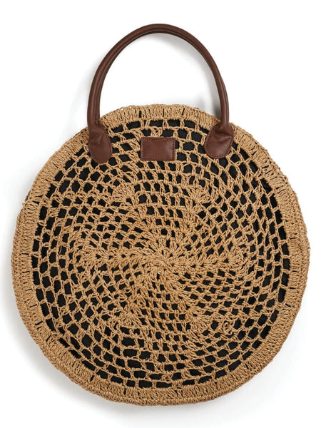 brixton amalie bag dark tax open-weave straw