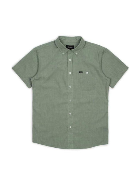 brixton central tailored short-sleeve button up green bay