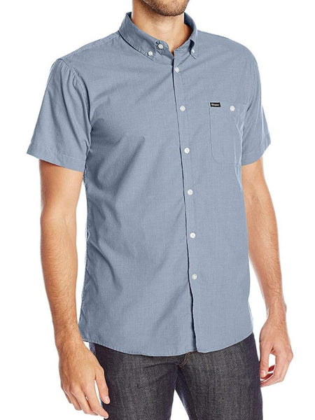 brixton central tailored short-sleeve button up light blue chambray