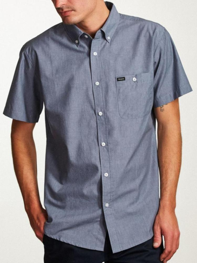 brixton central tailored short-sleeve button up washed royal