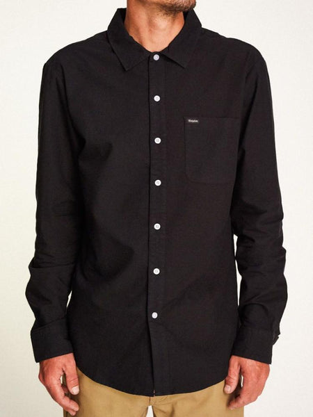brixton charter oxford button up long sleeve black