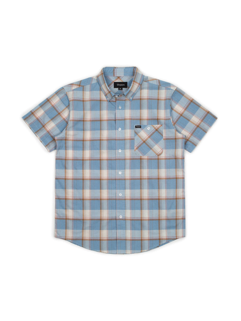 brixton howl button up short sleeve light blue white