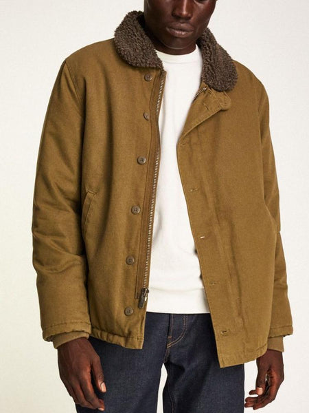 brixton mast jacket black brown military inspired sherpa lining
