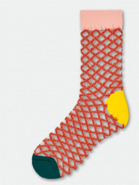 Cesca Crew Sock: Copper Fishnet