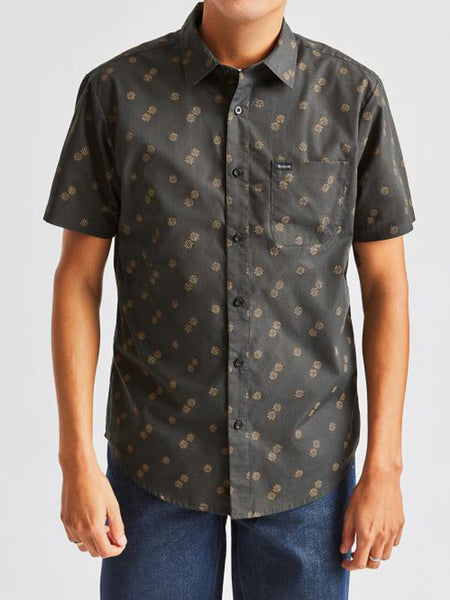 Charter Print S/S Woven: Washed Black/Copper