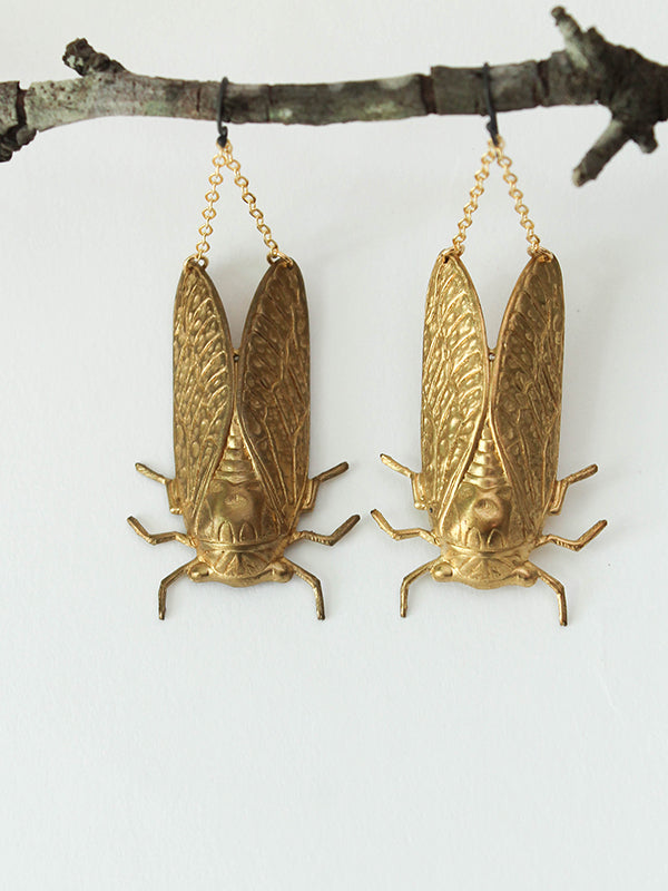 brass and sterling cicada earrings