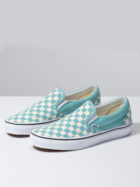 Classic Slip-On: Checkerboard: Aqua Haze
