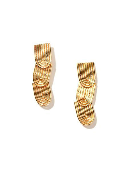 nectar nectar curved watercress earrings yellow gold