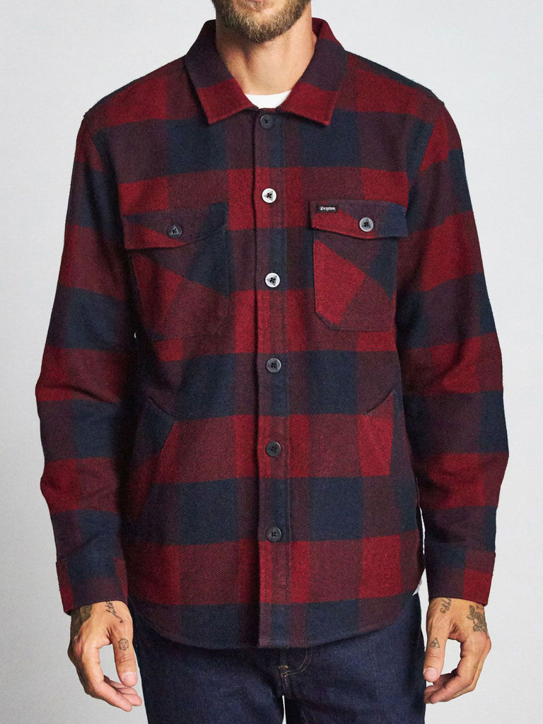 Durham L/S Flannel: Navy/Red