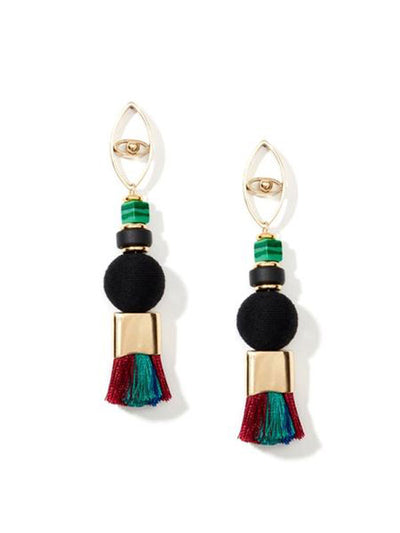 nectar nectar caviar dreams tassel silver plated gemstone oval earrings
