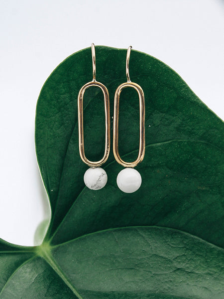Relativity Earrings (Brass, Howlite, Small)