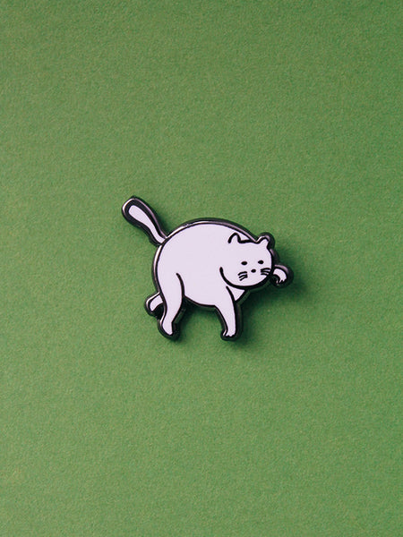 stay home club enamel pin tip toe pin white cat
