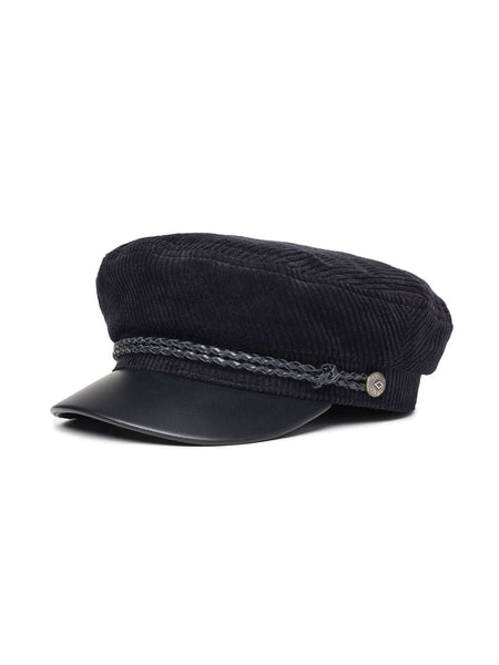 Fiddler Cap: Black/Black Leather