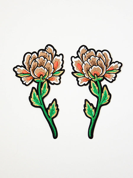 stay home club peonies flower iron on patch set