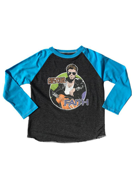 George Michael Raglan: Charcoal/ Electric Blue