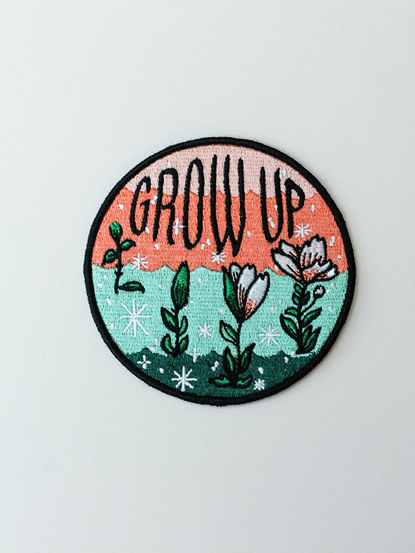 stay home club iron on patch grow up