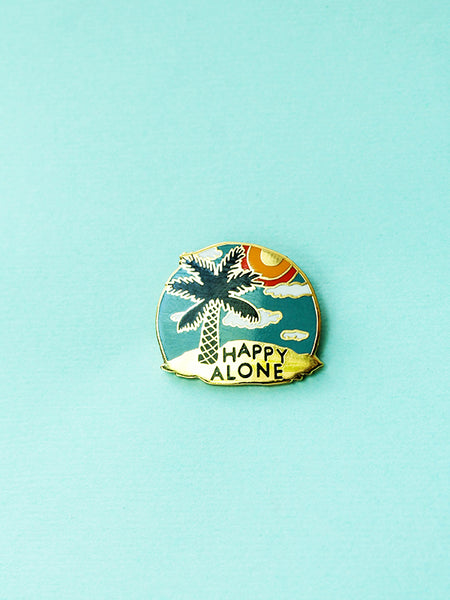 stay home club happy alone island enamel pin