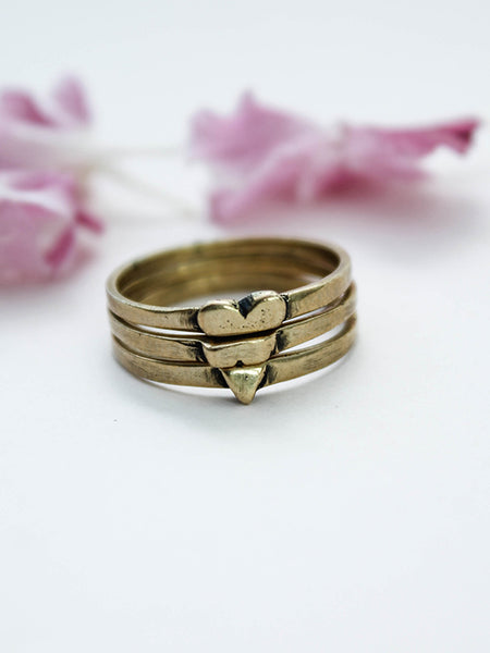 The Heart Stack Ring Brass