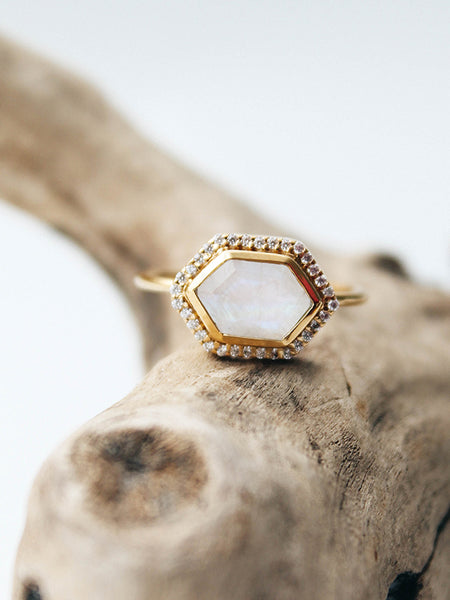 Rainbow Moonstone + Diamond Royale Ring
