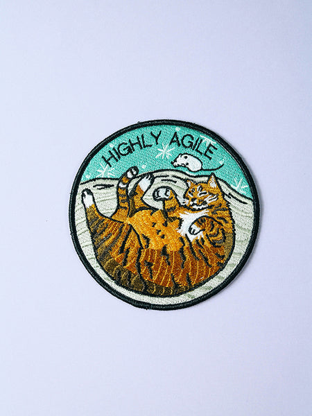 stay home club highly agile iron on patch cat