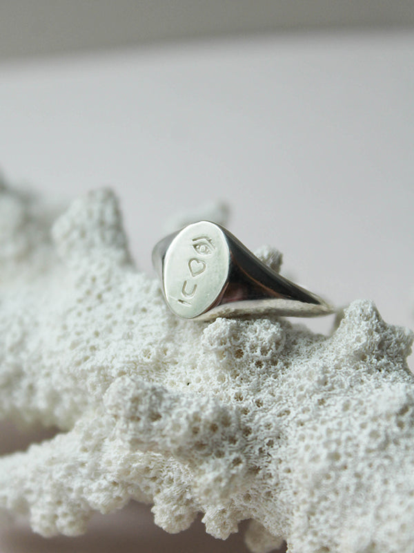 Satellite Of Love Signet Ring: Sterling
