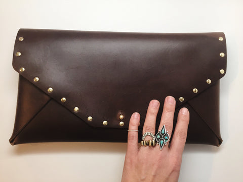 You've Got Studs Leather Envelope Clutch