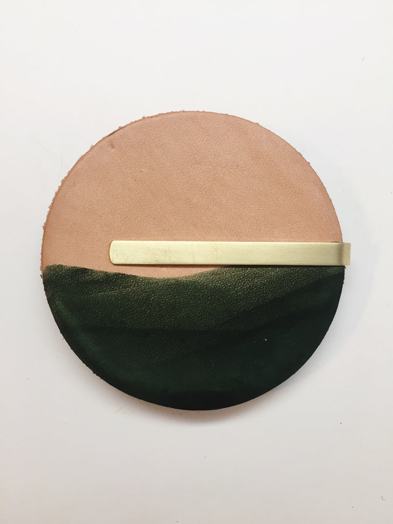Dip-Dyed Leather Coaster Set Forest
