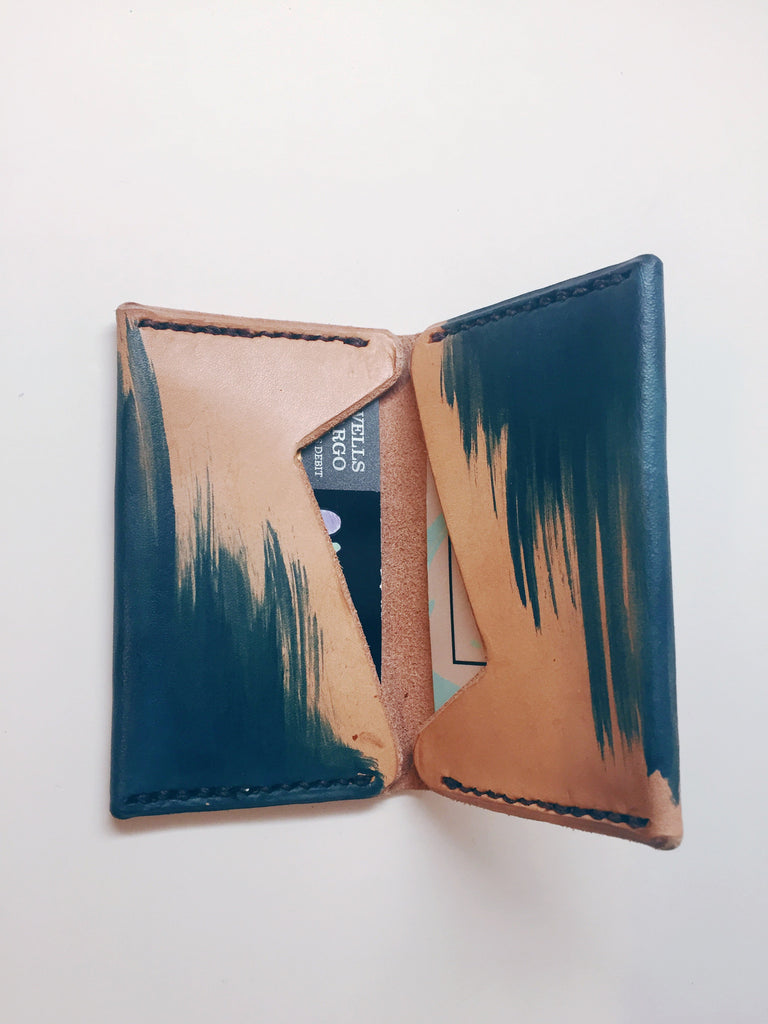 Hand Dyed Leather Bi-fold Wallet: Deep Blue Brush