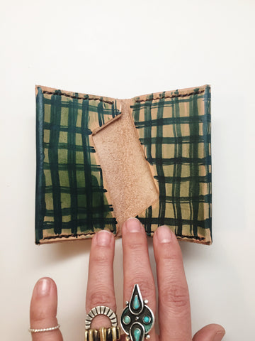 Hand Dyed Leather Bi-fold Wallet: Forest Lumberjack