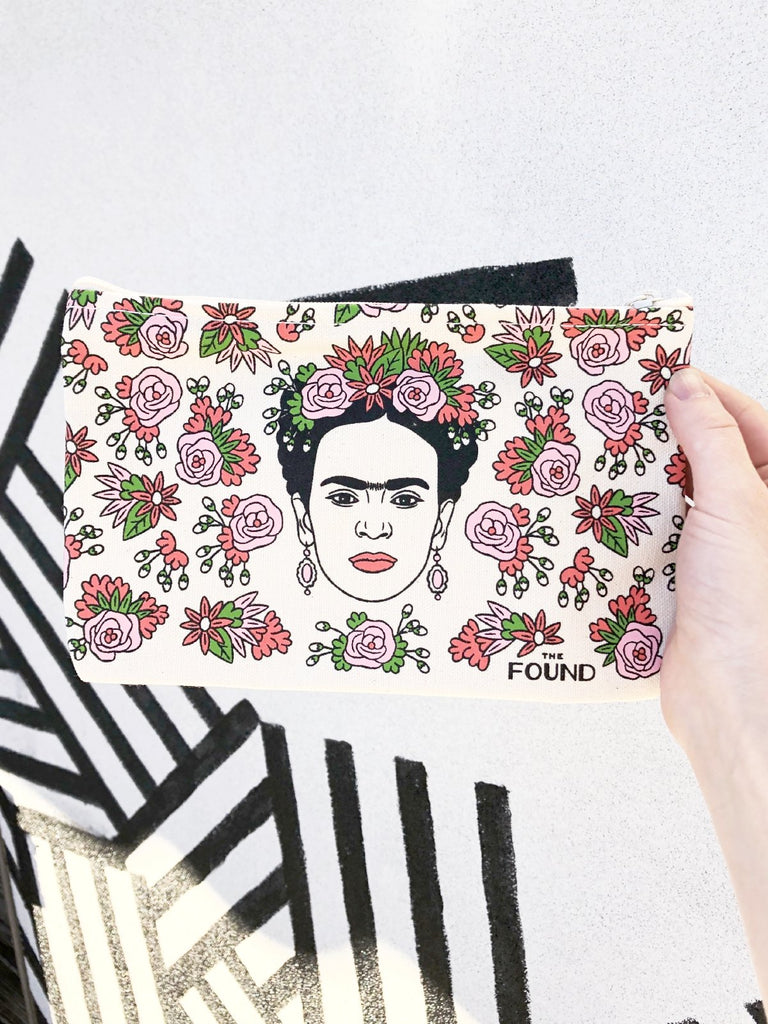 frida artista mexicana screen printed pouch the found