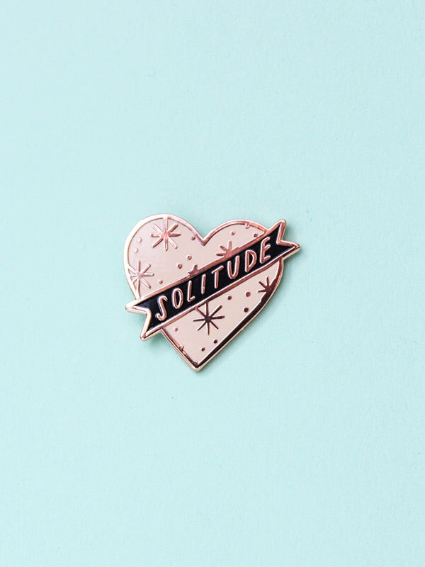 stay home club solitude pink heart enamel pin