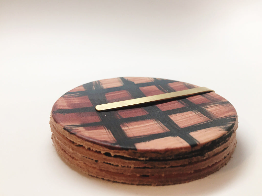 Hand-painted Leather Coaster Set Crimson Lumberjack