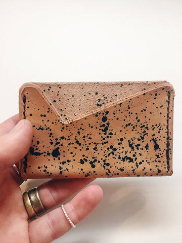 Hand Dyed Leather Card Holder: Deep Blue Splatter