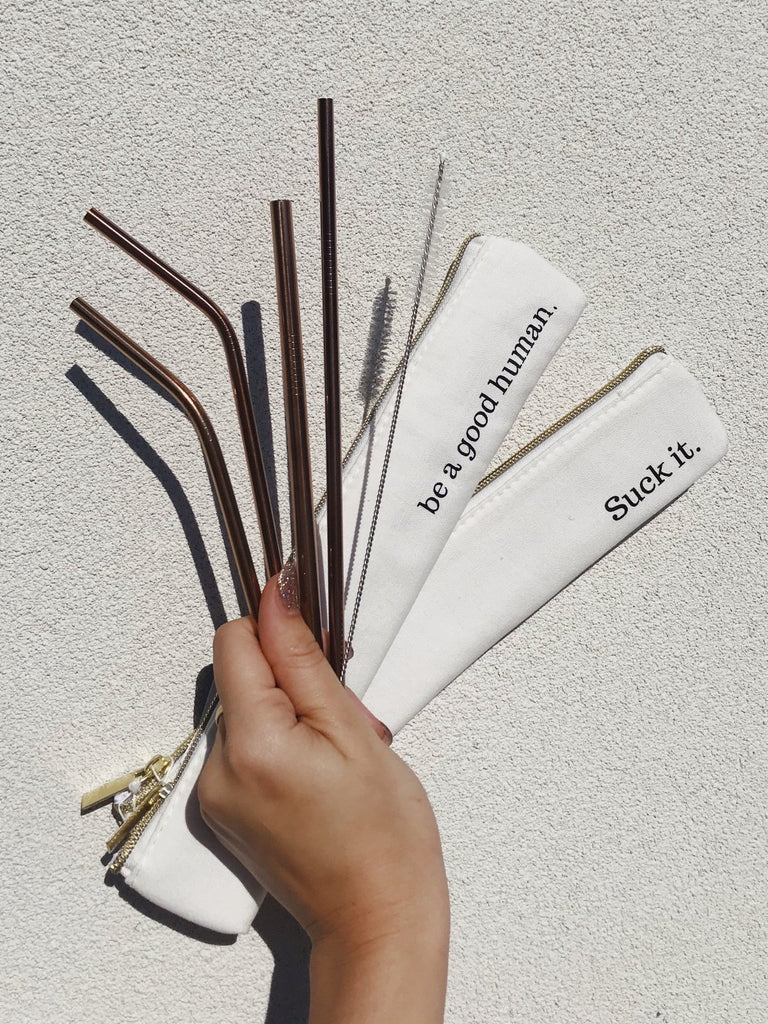 last straw reusable straws eco friendly waste free rose gold straw set suck it earth friendly