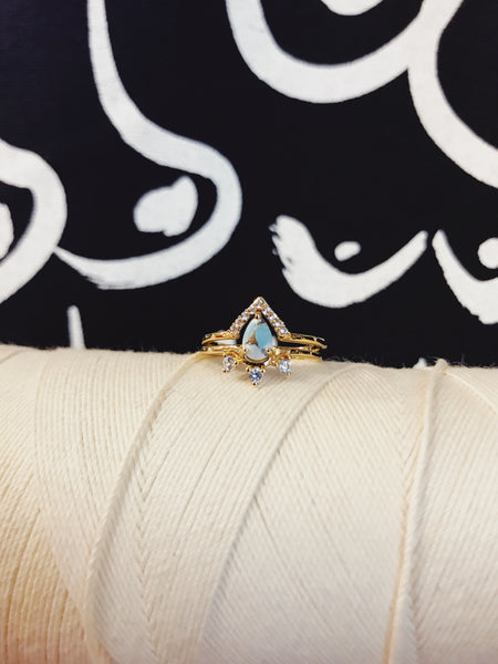Copper Turquoise & Topaz Geneva Ring Stack