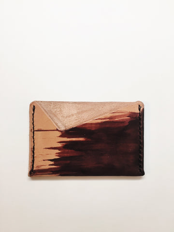 Hand Dyed Leather Card Holder: Crimson Brush