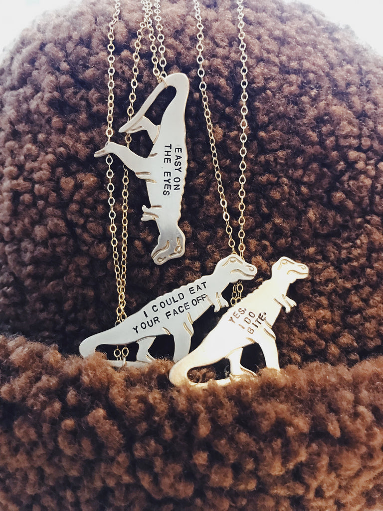 Hand Stamped TREX Necklace