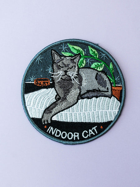 stay home club iron on patch indoor cat