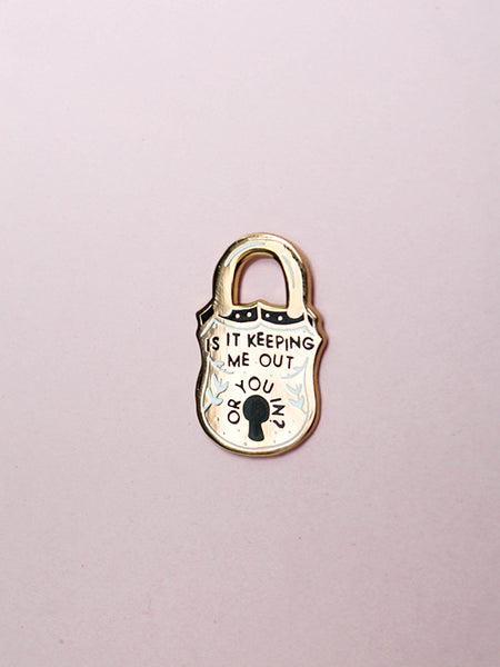 stay home club keeping me out lock enamel pin