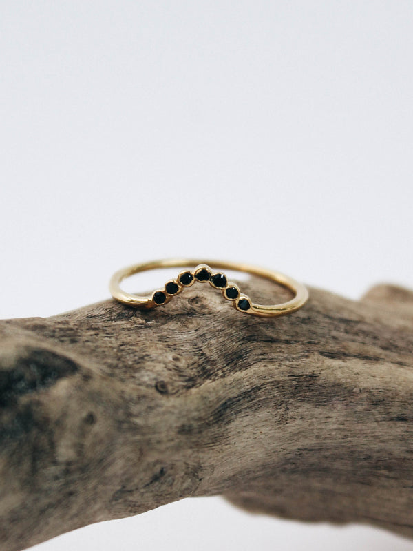 Black Onyx Arc Ring