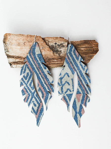 Leather Feather Minis: Blue Aztec