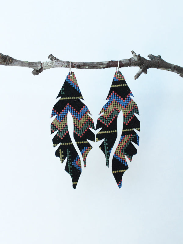 Leather Feather Minis: Textured Aztec