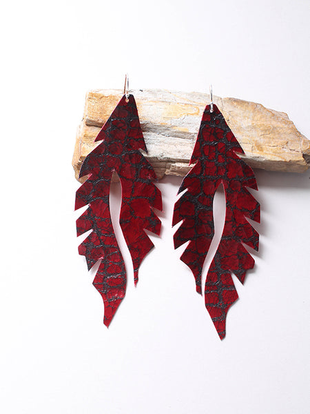 Leather Feather Minis: Deep Red Gator