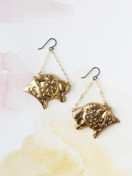 edge of urge brass panther dangle earrings jewelry cat
