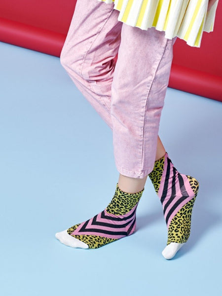 Samanta Ankle Sock: Pink & Yellow Cheetah