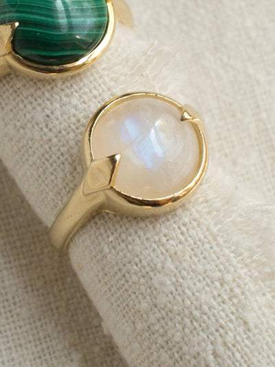 merewif bubble ring rainbow moonstone gold plate