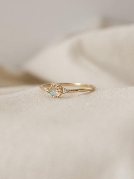 merewif joyful eyes ring rainbow moonstone 10k gold