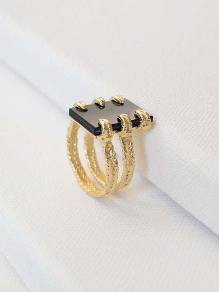 merewif varuna ring black onyx gold